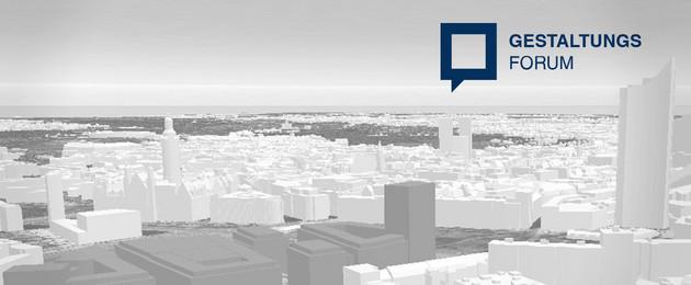 """Stadtansicht von Leipzig als Animation in blassgrau mit dem Logo zum Gestaltungsforum. Das Logo ist ein mittelblaues freistehendes Quadrat mit der Schriftzeile """"Gestaltungsforum"""", das rechts oben in das Bild eingefügt ist."""