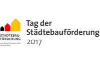 Logo zum Tag der Städtebauförderung 2017 mit drei Häusersignets in schwarz rot gold