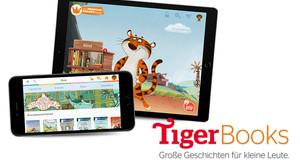 Tablet und Smartphone mit TigerBooks App, danaben Schrift-Logo TigerBooks