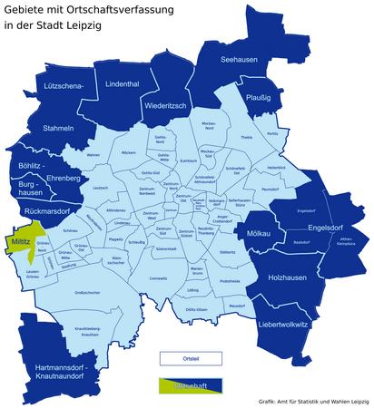 Karte der Leipziger Ortsteile und Ortschaften - Miltitz hervorgehoben