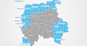 Eine Grafik der Stadt Leipzig. Die Ortsteile mit Ortschaftsräten sind blau hervorgehoben.