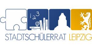 Blau-gelbes ikonographisches Logo des Stadtschülerrates in Form eines vierteiligen Puzzles.
