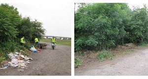 Vorher-Nachher-Bilder aus dem Projekt Müllfeuerwehr: Zuerst vermüllter Weg, danach bereinigter Weg.