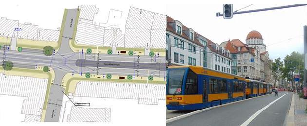 Collage von einer Planungsskizze für den Straßenbau und einer Straßenbahn