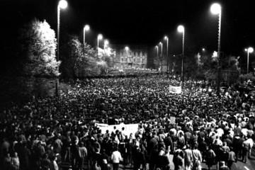 Bild wird vergrößert: Demonstration in the autumn of 89 on Leipzig's ring road