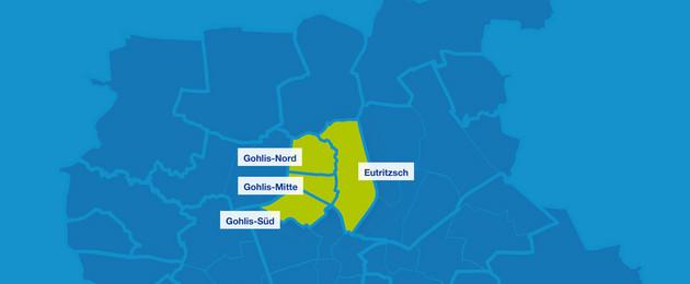 Karte mit den Umrissen der Leipziger Ortsteile im Leipziger Norden. Hervorgehoben sind Gohlis-Süd, Gohlis-Mitte, Gohlis-Nord und Eutritzsch.