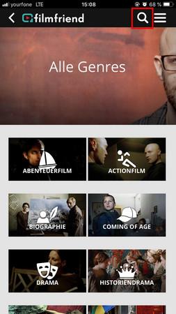 Bildschirmfoto der Genre-Ansicht in der filmfriend App