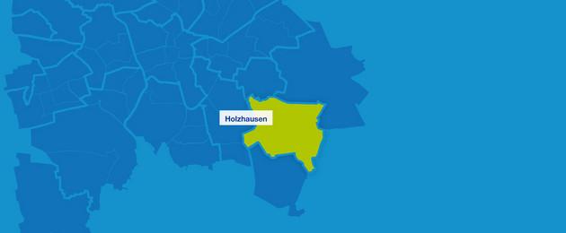 Karte mit den Umrissen der Leipziger Ortsteile im Südosten. Holzhausen ist hervorgehoben.
