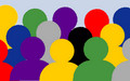 Logo Auslaenderbehoerde Leipzig: Verschiedenfarbige Silhouetten von Menschen