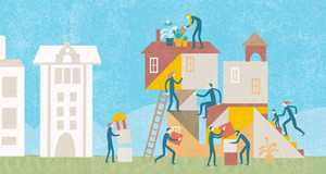 Grafik mit Menschen, die gemeinsam Häuser bauen