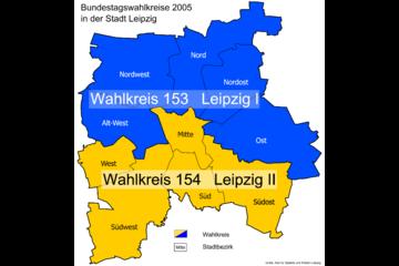 Bild wird vergrößert: Karte mit den Bundestagswahlkreise 2005 in der Stadt Leipzig.