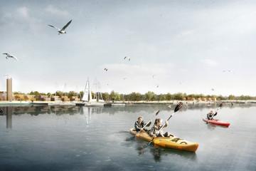 Bild wird vergrößert: Ansicht vom Wasser auf das Hafendorf mit Kanuten, Segelbooten und Badgästen
