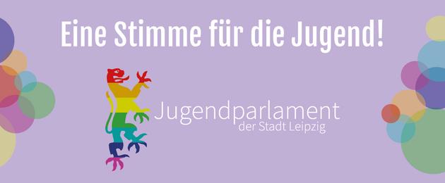 Grafik mit einem bunten Löwen als Logo des Jugendparlamentes Leipzig und der Schrift Eine Stimme für die Jugend!