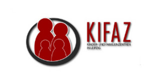 Logo der Kinder- und Familienzentren mit einer Familie als Silhouette