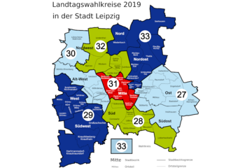 Bild wird vergrößert: Wahlkreise in der Stadt Leipzig zur Landtagswahl 01. September 2019