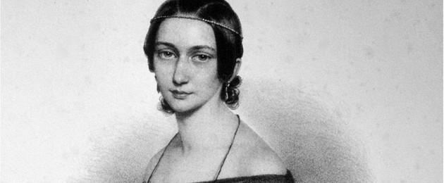 schwarz-weiß Zeichnung der jungen Clara Schmumann