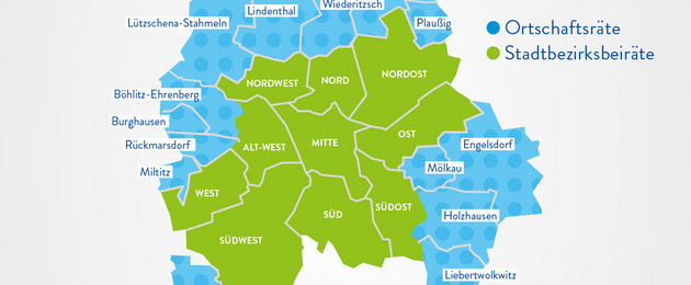 Leipzig-Karte mit den 10 Stadtbezirksberäten (Nordwest, Nord, Nordorst, Alt-West, Mitte, Ost, West, Südwest, Süd, Südost) und den 14 Ortschaftsräten (Plaußig, Seehausen, Wiederitzsch, Lindenthal, Lützschena-Stahmeln, Böhlitz-Ehrenberg, Burghausen, Rückmarsdorf, Miltitz, Hartmannsdorf-Knautnaundorf, Liebertwolkwitz, Holzhausen, Mölkau, Engelsdorf)
