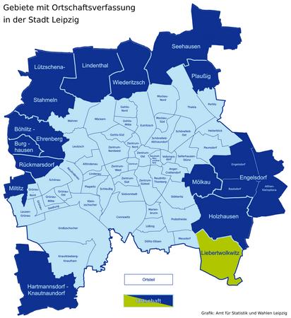 Karte der Leipziger Ortsteile und Ortschaften - Liebertwolkwitz hervorgehoben
