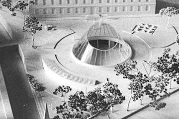 Bild wird vergrößert: Modell einer Platzgestaltung vor dem Naturkundemuseum aus den 1960-ern