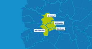 Karte mit den Umrissen der Leipziger Ortsteile. Hervorgehoben sind Neulindenau, Leutzsch, Altlindenau und Lindenau.