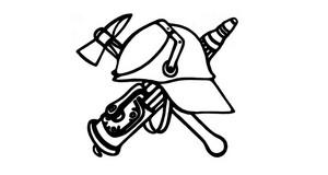 Grafik mit dem Wappen der Freiwilligen Feuerwehr. Zu sehen sind ein Feuerwehrhelm, eine Brandaxt und eine Wasserspritze.