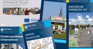 Mehrere Titel von Faltblättern und Broschüren, die im Zusammenhang mit der städtebaulichen Nutzung im Leipziger Osten erschienen sind.