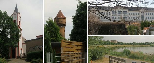 Wasserturm, Genezarethkirche, Grüner Bogen und 24. Grundschule im Stadtteil Paunsdorf