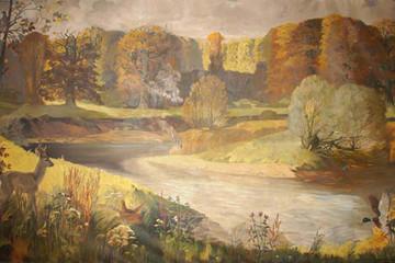 Bild wird vergrößert: Auwaldgemälde von Emil Block im Naturkundemuseum Leipzig