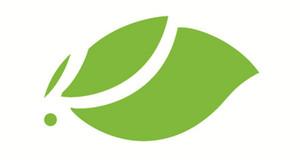 Logo aus geschwungenem hellgrünen Blatt