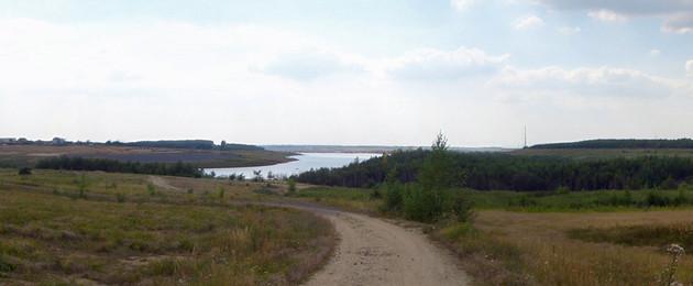 Panoramafoto des Zwenkauer Sees 2009 vom Ostufer aus mit Blick auf Kap Zwenkau