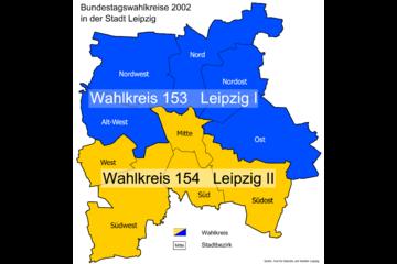 Bild wird vergrößert: Karte mit den Bundestagswahlkreise 2002 in der Stadt Leipzig.