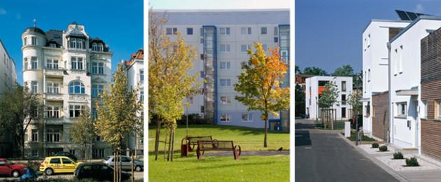 Von links nach rechts: Gründerzeitliches Quartier, Großwohnsiedlung Grünau, Stadthäuser in der Stallbaumstraße