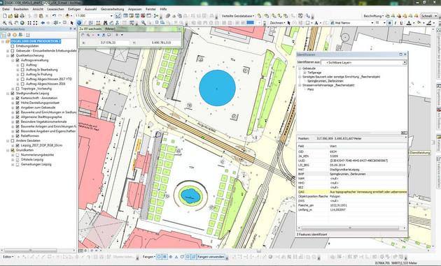 Screenshot, wie die Stadtgrundkarte auf dem PC bearbeitet wird