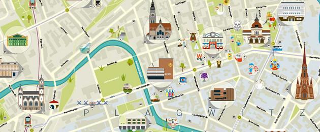 Auszug aus grafischer Stadtkarte von Plagwitz mit Karl-Heine-Kanal