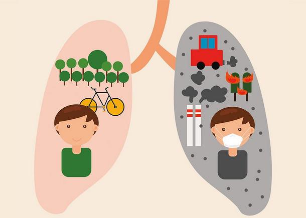 Grafik einer Lunge. Der eine Lungenflügel ist rosa, mit einem gesundem Wald, Fahrrad und lächelnden Menschen. Der andere Flügel ist grau und verschmutzt, ein Auto und Schornsteine stoßen Abgase aus, ein Mensch hat eine Maske vor dem Gesicht.