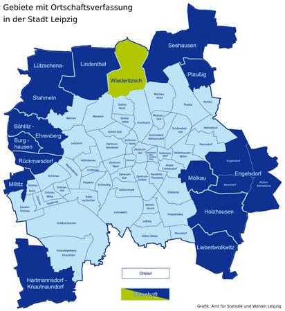 Karte der Leipziger Ortsteile und Ortschaften - Wiederitzsch hervorgehoben