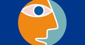 Logo der UN-Dekade BNE. Blauer Hintergrund, darauf ein Kreis mit einem orangen, stilisiert gezeichneten Gesicht im Profil darin