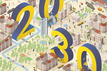Bild wird vergrößert: Titelbild der Broschüre Integriertes Stadtenwicklungskonzept Leipzig 2030 mit einer farbigen Grafik und den im Bild verteilten Zahlen 20 und 30