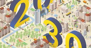 Titelbild der Broschüre Integriertes Stadtenwicklungskonzept Leipzig 2030 mit einer farbigen Grafik und den im Bild verteilten Zahlen 20 und 30