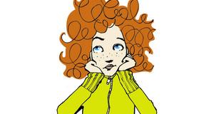 Logo Kinder- und Jugendschutz: gezeichnetes rothariges Mädchen, welches den Kopf auf die Arme aufstützt