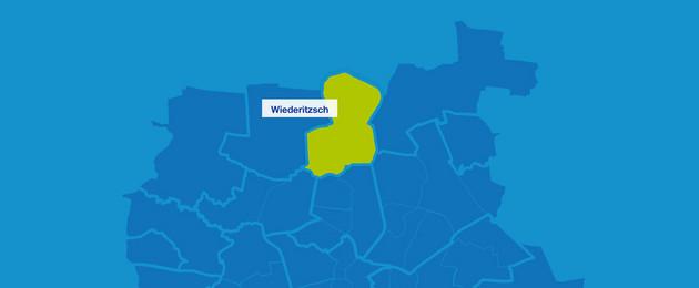 Karte mit den Umrissen der Ortsteile im Leipziger Norden. Wiederitzsch ist hervorgehoben.