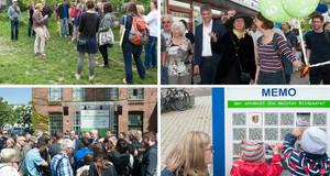 Mehrere Fotos zeigen Bürger zu Veranstaltungen und Rundgängen anlässlich des Tages der Städtebauförderung.