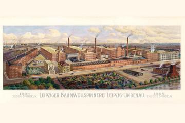 Bild wird vergrößert: Historische Postkarte mit der Ansicht der Leipziger Baumwollspinnerei mit verschiedenen Fabrikgebäuden