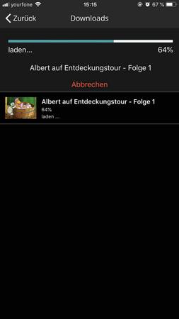 Bildschirmfoto des Fortschritts eines Downloads einer Kinderserie, mit Abbrechmöglichkeit
