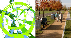 Kartenaussschnitt aus dem Grünradialplan und ein Bild von einem Park mit Spaziergängern