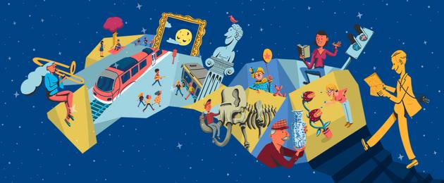 Grafik: Eine Himmelsleiter führt in das bunte Treiben der Museumsnacht – von der Lesung, über den Ausstellungsbesuch bis hin zum Unterwegssein zwischen verschiedenen Museen in Halle und Leipzig.
