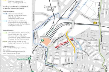 Bild wird vergrößert: Der Umleitungsplan zeigt die großräumige Verkehrsführung während der Sperrung des Friedrich-List-Platzes vom 27. Juli bis zum 15. August 2020.