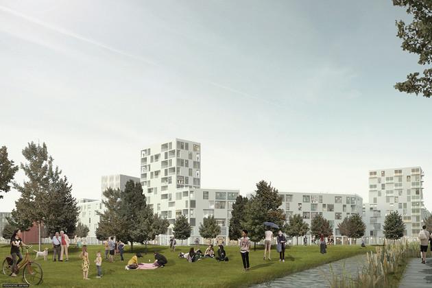 Entwurf des Eutritzscher Bahnhofs (Visualisierung): Blick auf eine Grünfläche, auf der viele Leute sich tummeln. Im Hintergrund unterschiedlich hohe Blockbauten mit vielen Fenstern