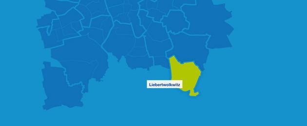 Karte mit den Leipziger Ortsteilen im Süden. Liebertwolkwitz ist hervorgehoben.