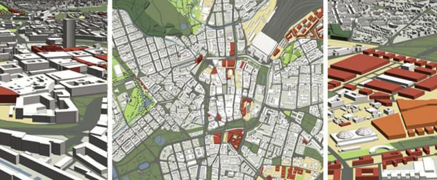 Planausschnitte aus dem Planwerk Stadtraum. Zu sehen sind 3-D-Stadtmodelle und Kartenausschnitte
